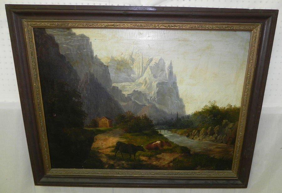 41: Oil painting of English mountain scene