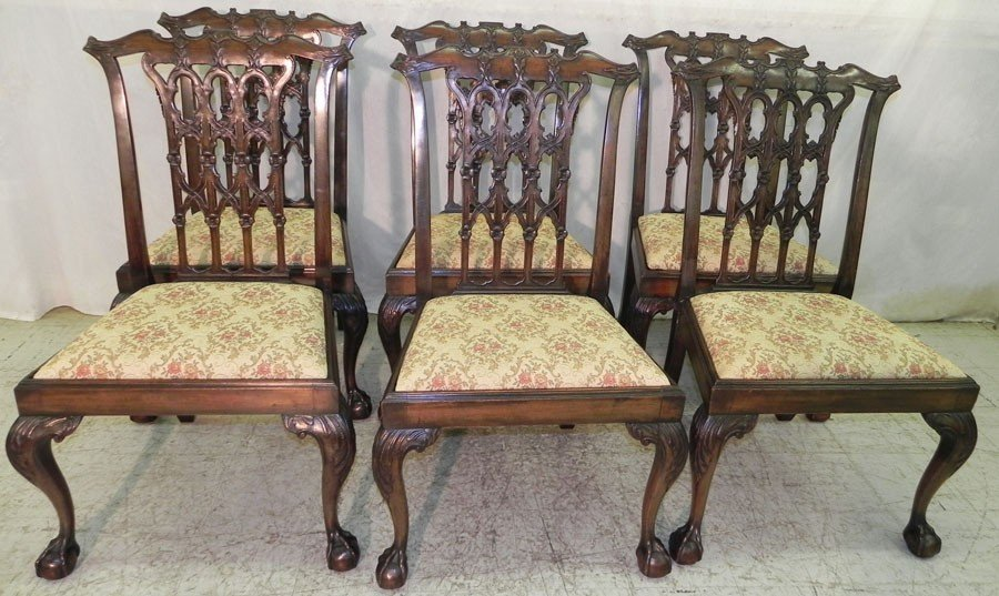 42: 6 mahogany Chippendale side chairs.