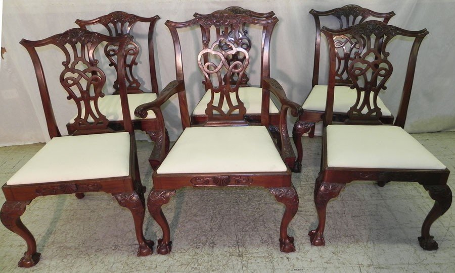 43: Set of 6 ball and claw foot Chippendale chairs