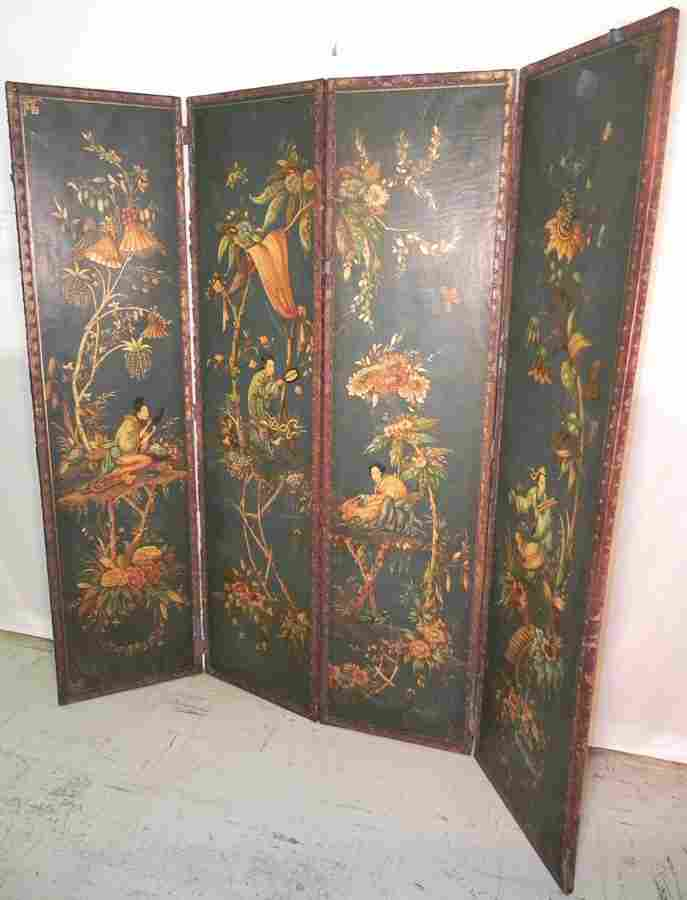 77: Hand painted leather four panel screen with wear.