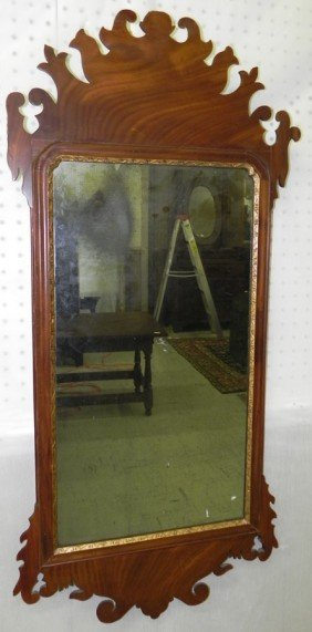 American Chippendale Mirror With Restoration.