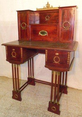 French Brass Bound Mahogany Ladies Desk