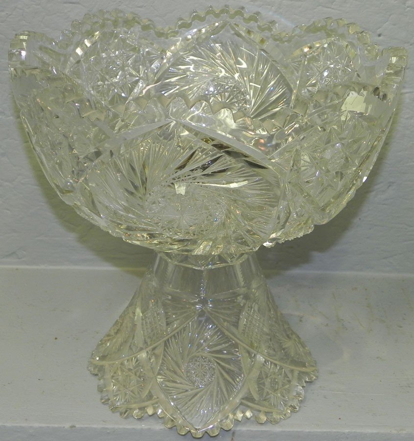 100: (2) piece cut glass punch bowl