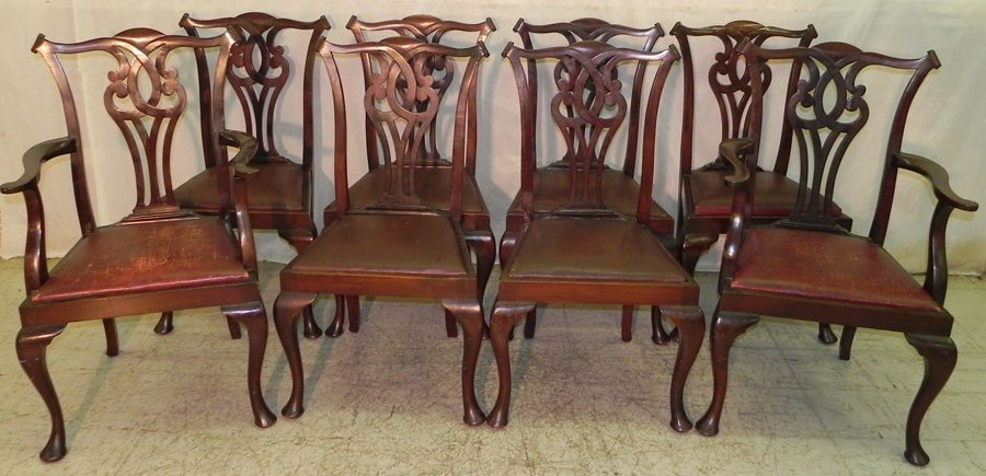 101: 8 Mahogany transition Chippendale dining chairs.