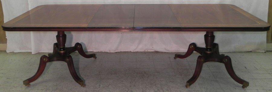 102: Inlaid mahogany 2 pedestal banquet table