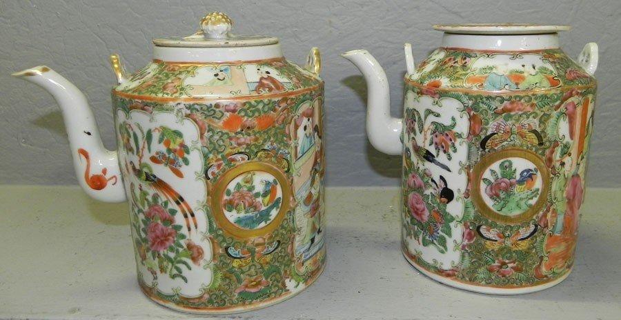 110: (2) 19th century Rose Medallion tea pots.