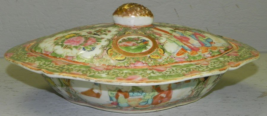 111: Oval Rose Medallion covered dish.