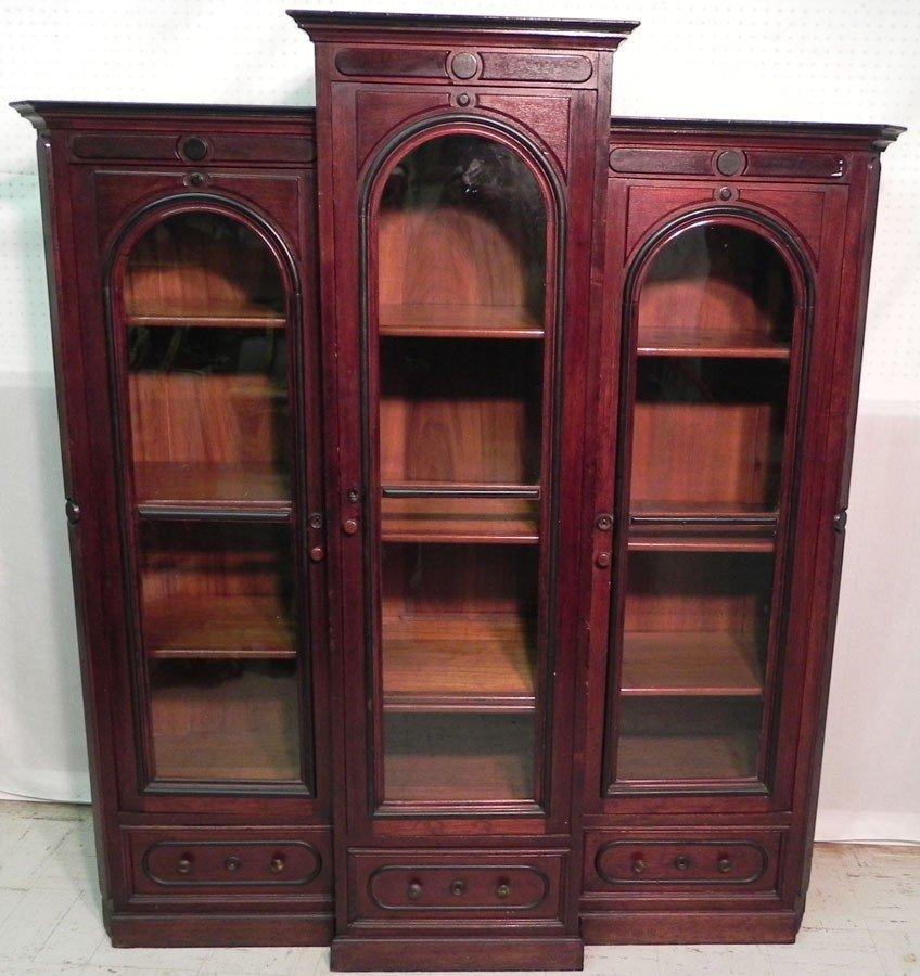 117: American walnut Victorian book case.