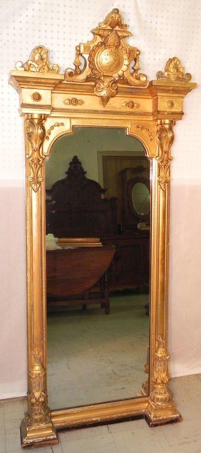 231: Gold leaf Victorian mirror circa 1850.