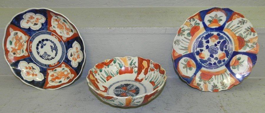 3: Imari bowl and 2 plates.