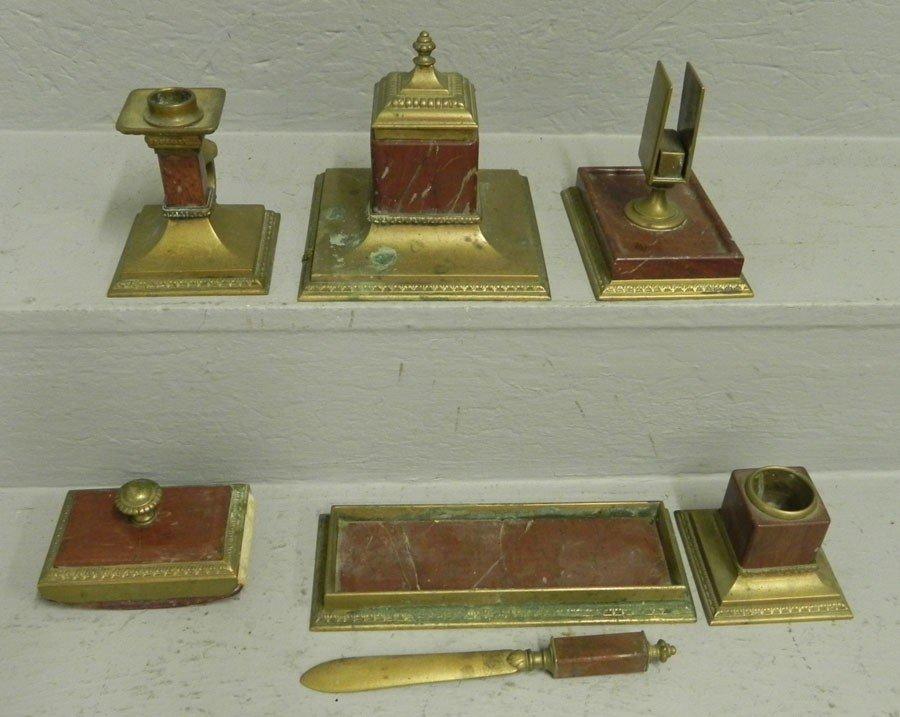 6: (7) piece bronze and marble desk set.