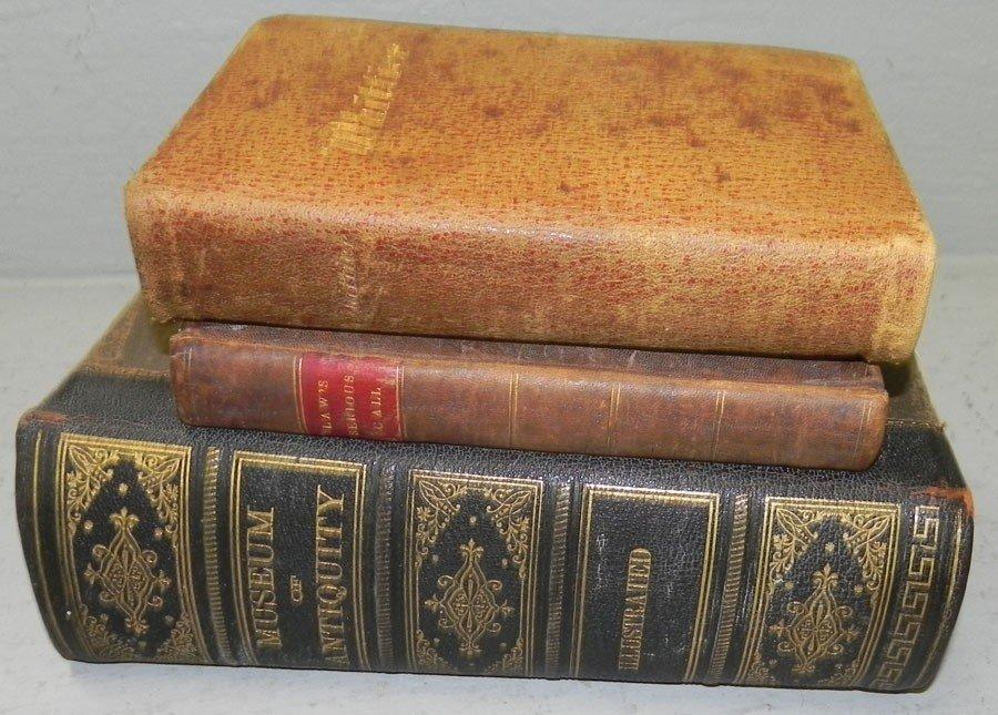 17: (3) Leather bound books