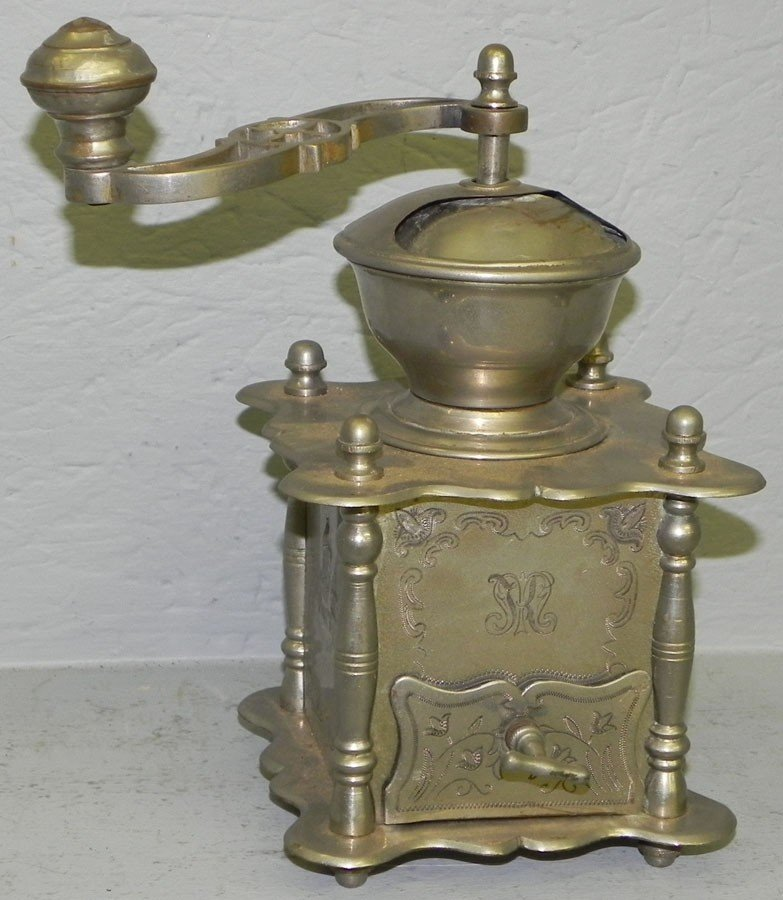 244: Nickel plated coffee mill.