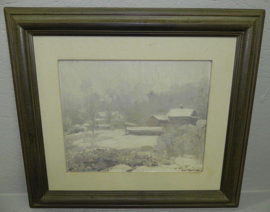 309: Oil on artist board, Signed John Frost, 1932.