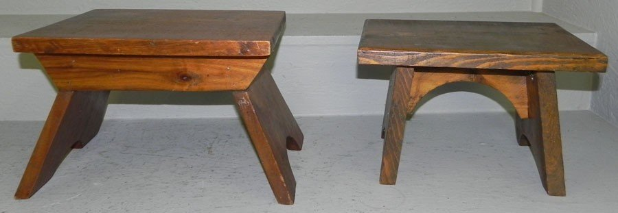 2: (2) small wooden stools.