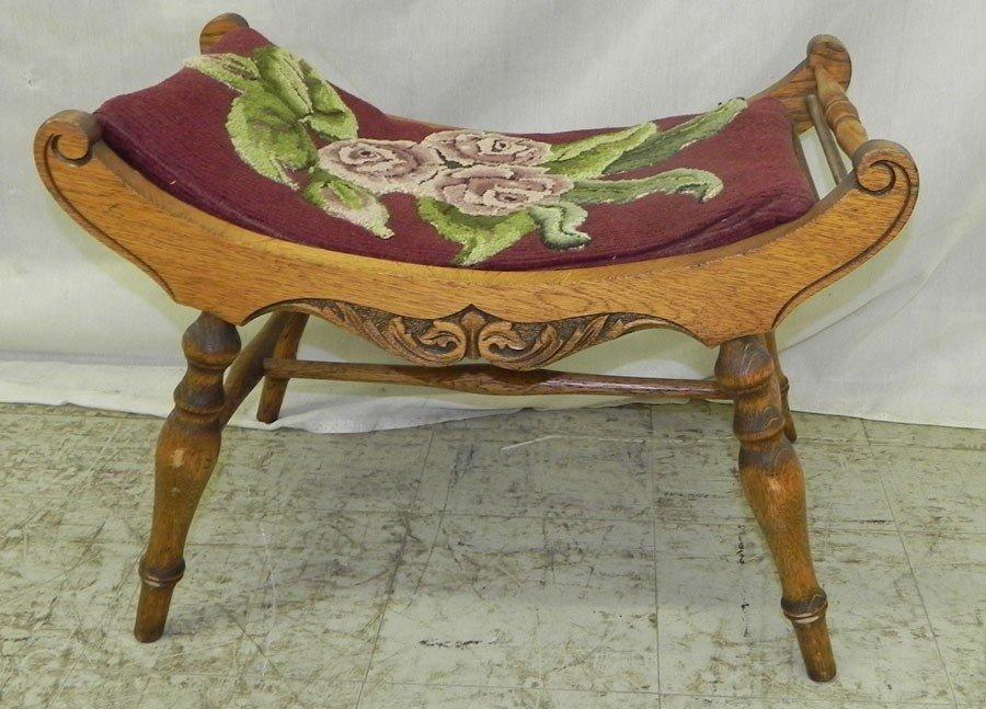 "6: Carved oak needlepoint vanity bench. 24"" wide."