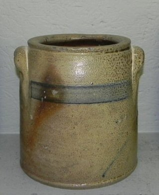 """9: Craven & Co. blue decorated crock.  7 3/4"""" tall."""
