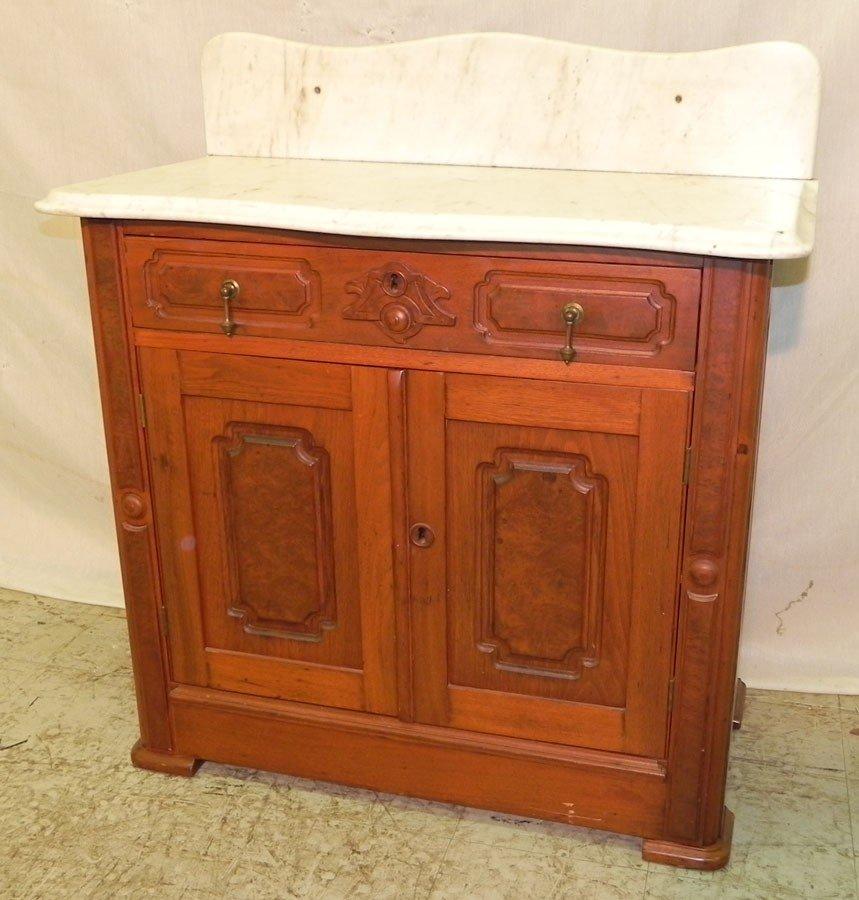 11: Victorian marble top walnut wash stand.