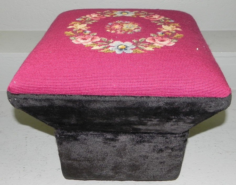 13: Needlepoint stool by Mrs. Moore.