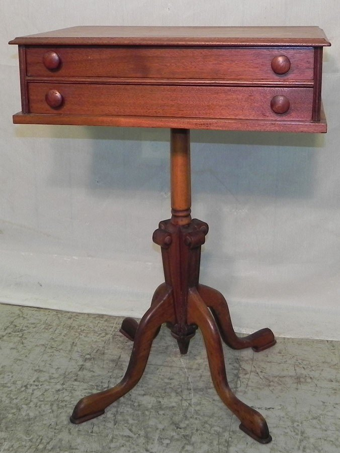 19: Walnut Victorian 2 dr spool cabinet on pedestal.