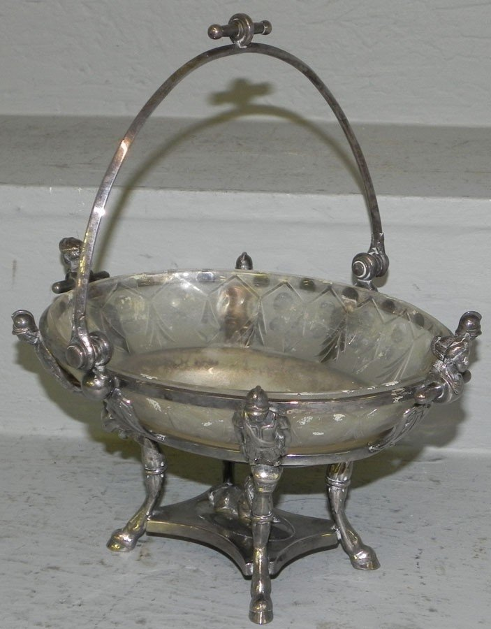 27: Empire silver plated center bowl with glass insert.