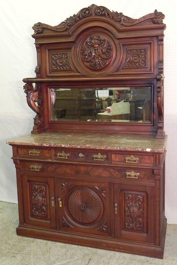 97: Very fine Victorian walnut marble top sideboard