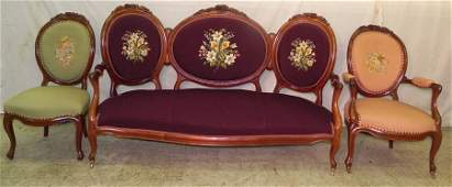 98 3 pc Victorian parlor suite w needlepoint uph