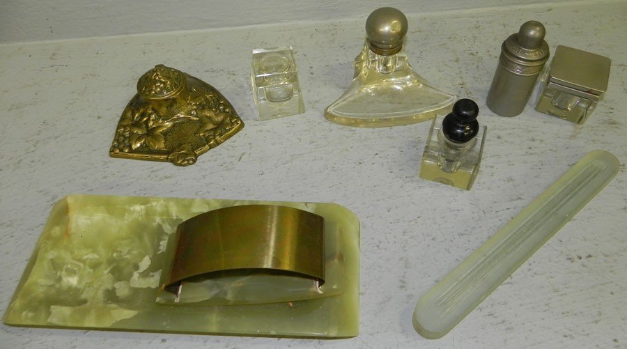1: 5 assorted inkwells and a partial desk set.