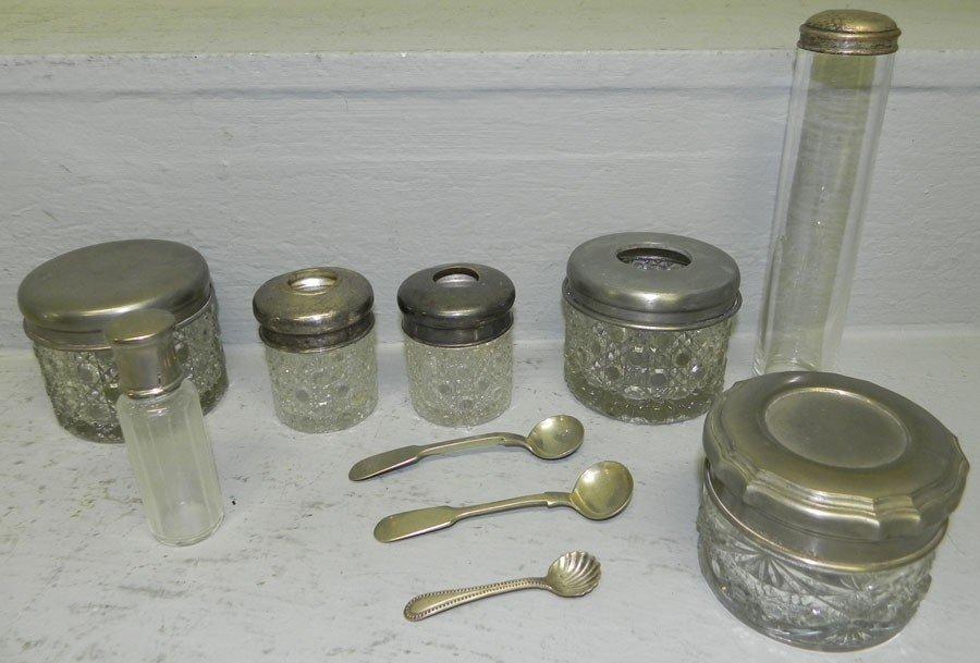 2: Collection of dresser bottles and (3) salt spoons.