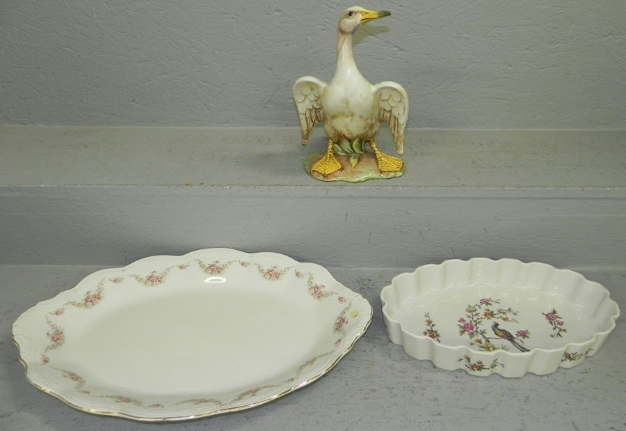 10: Italian goose figurine and French bowl & tray.