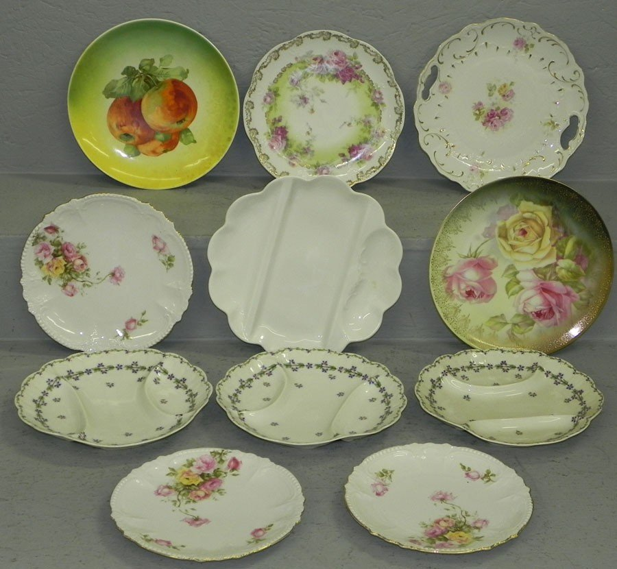 13: (11) hand painted plates and trays.