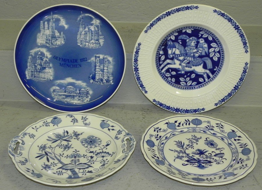 21: (4) hand painted plates.