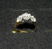 498 Ladies 3 stone diamond ring in 14 kt