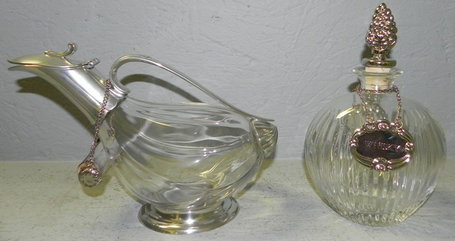 2: 2 Silver plate and crystal wine decanters