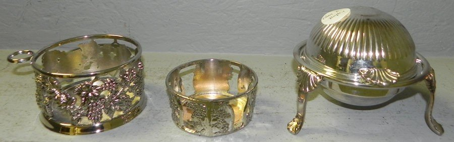 3: (2) silver plate coasters and butter dish.