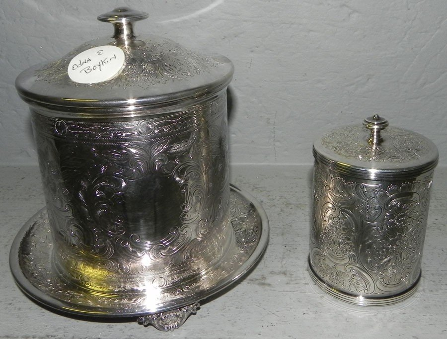 9: Silver plate biscuit jar and silver plate jam jar