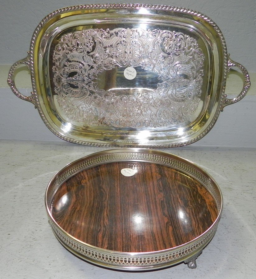 13: Footed grained gallery tray & SP tray by Wallace.