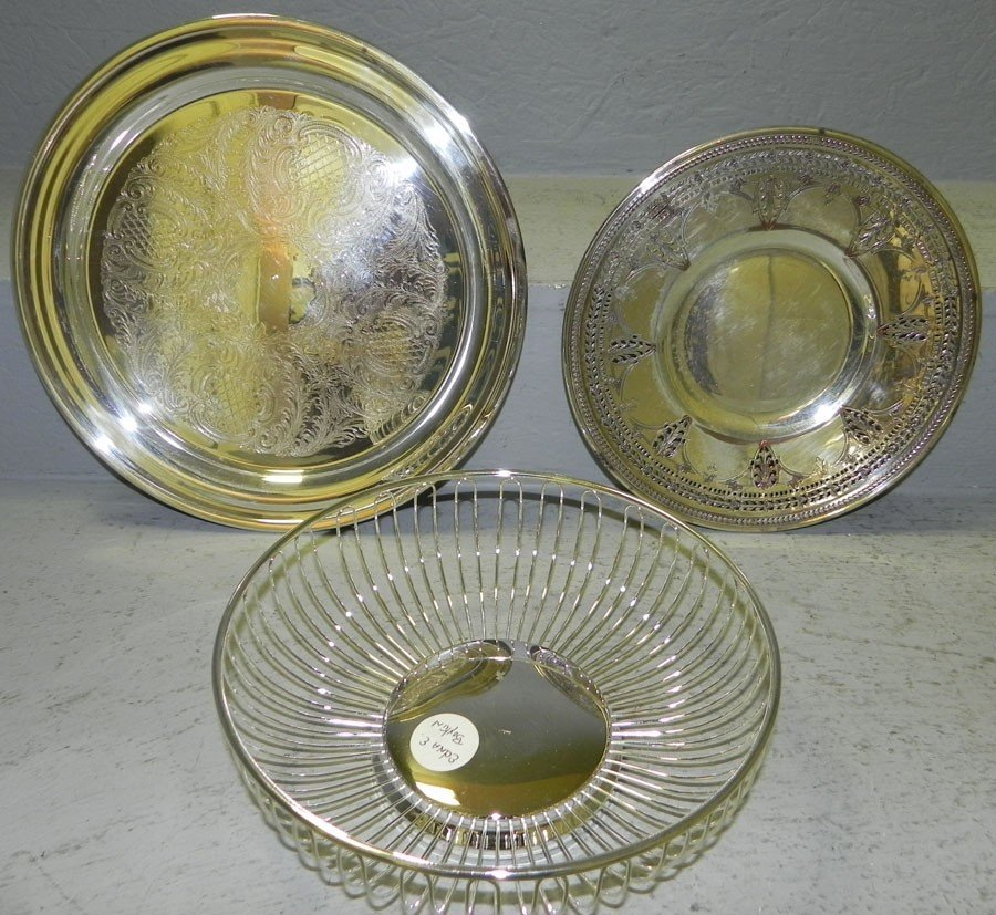 14: SP bread basket,  and two etched trays.