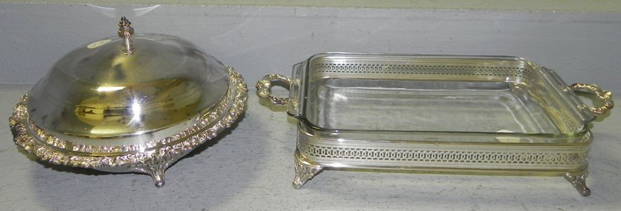 15: Silver plate covered vegetable dish & serving piece