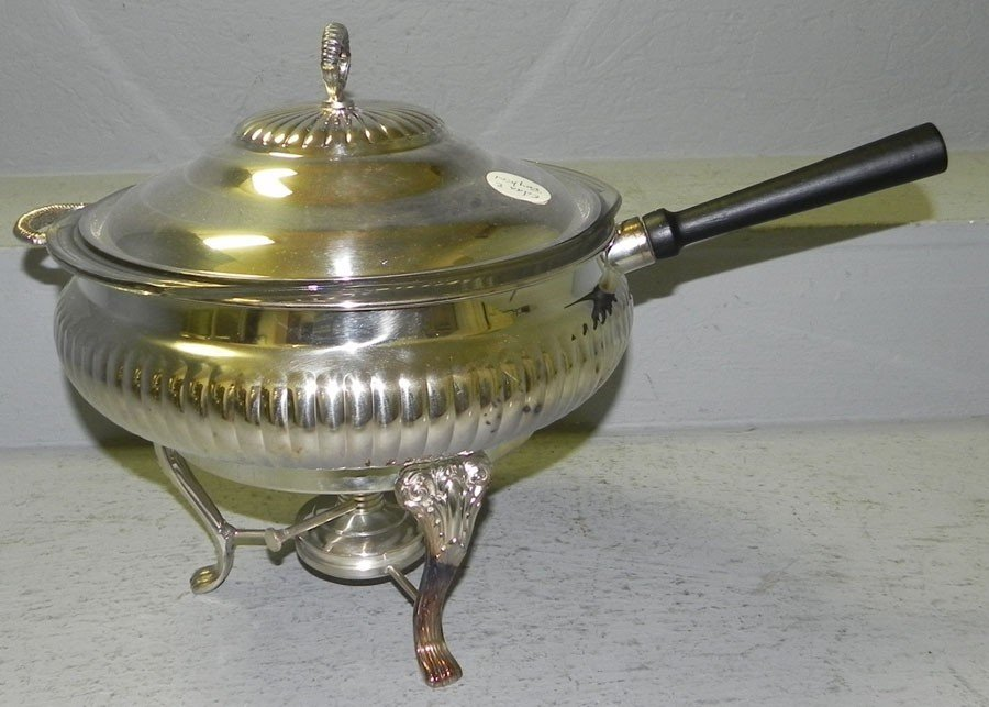 17: Silver plate chafing dish.