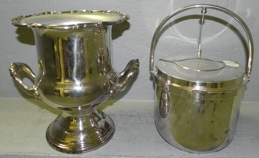 24: Silver plate ice bucket & silver plate wine cooler