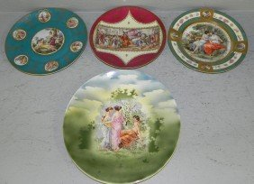 (4) Hand Painted Victorian Portrait Plates.