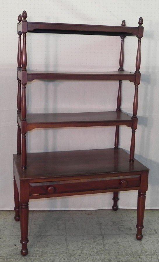 49: Mahogany four shelf dumbwaiter with drawer