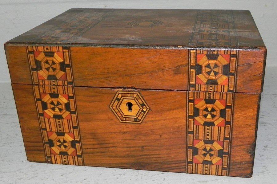 52: Inlaid mahogany dresser box.