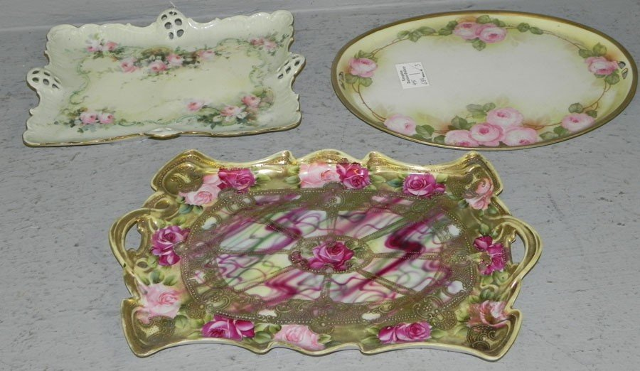 56: (3) Victorian hand painted dresser trays.