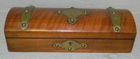 Mahogany Dome Top Brass Bound Dresser Box.