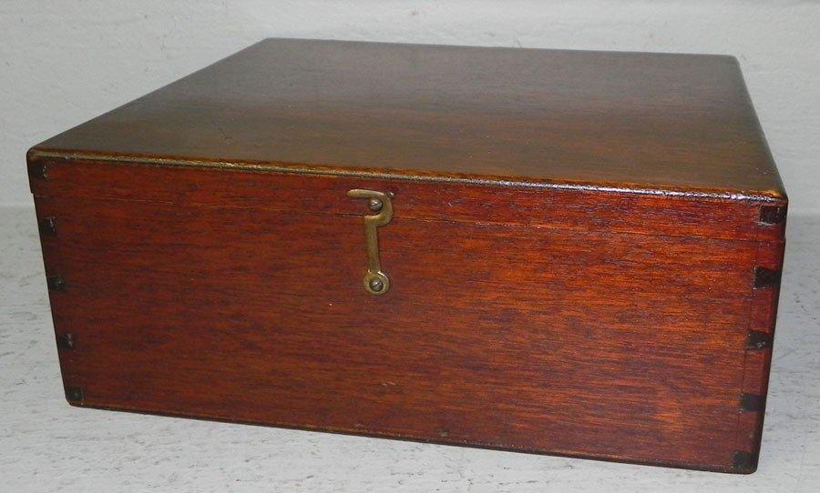 """58: Fitted mahogany box. 9 1/2"""" x 11"""" x 4 1/2"""" tall."""