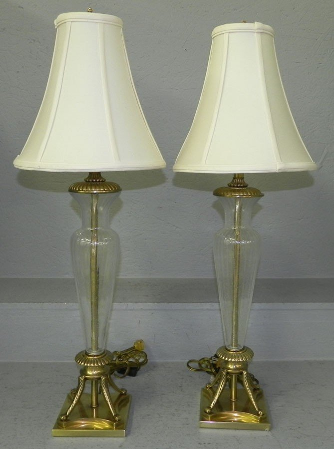 59: Pair of brass & crystal modern decorators lamps.