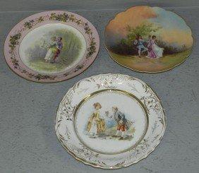 (3) Hand Painted Victorian Portrait Plates.