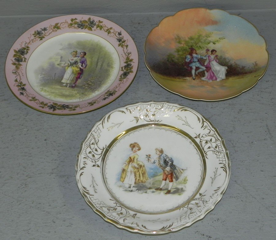 60: (3) hand painted Victorian portrait plates.